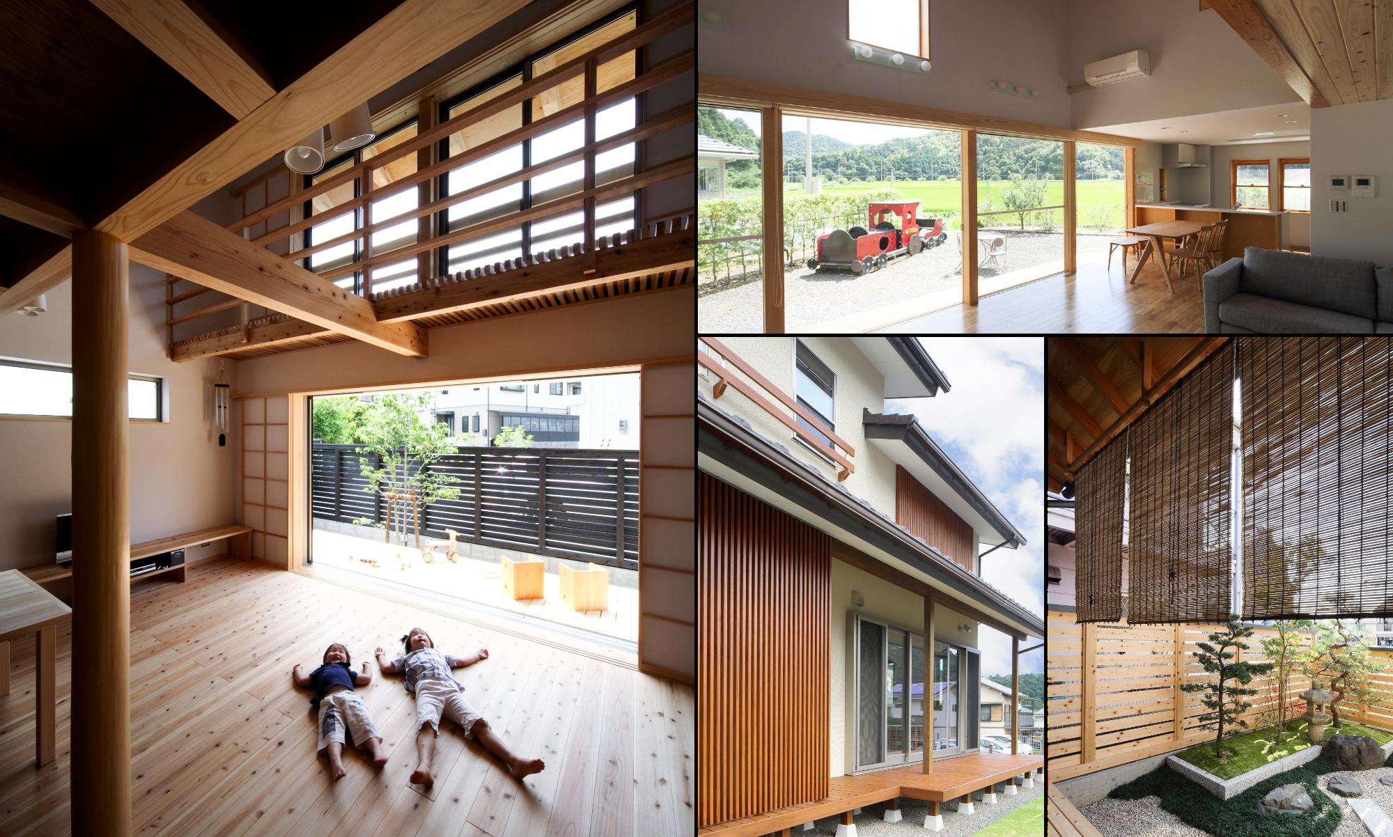 坂根工務店住宅の自然の力を利用した「涼しさ」を感じるウッドデッキの組写真