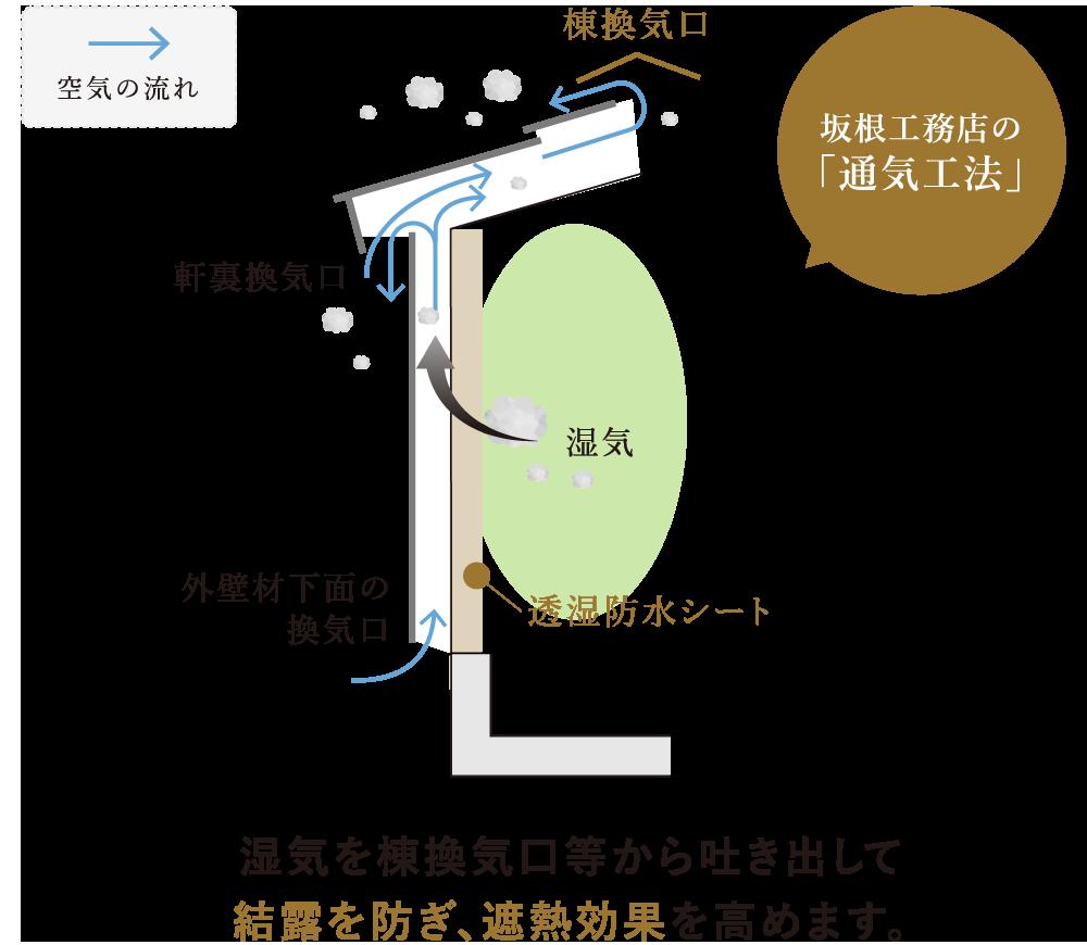 外壁材と断熱材の間に空気の通り道をつくり、湿気を屋外へ逃す「通気工法」で結露を防ぎ、遮熱効果を高めます。