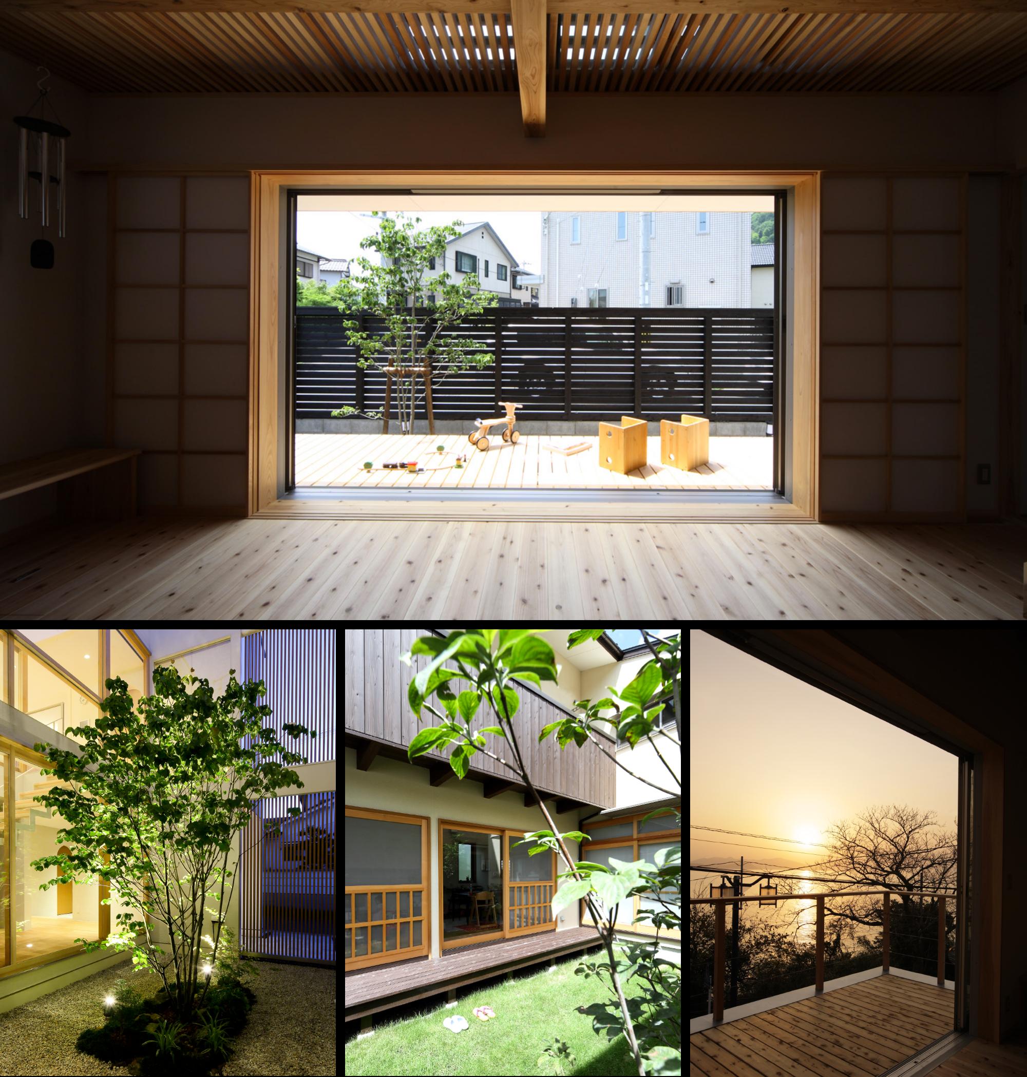 坂根工務店住宅のウッドデッキ組写真