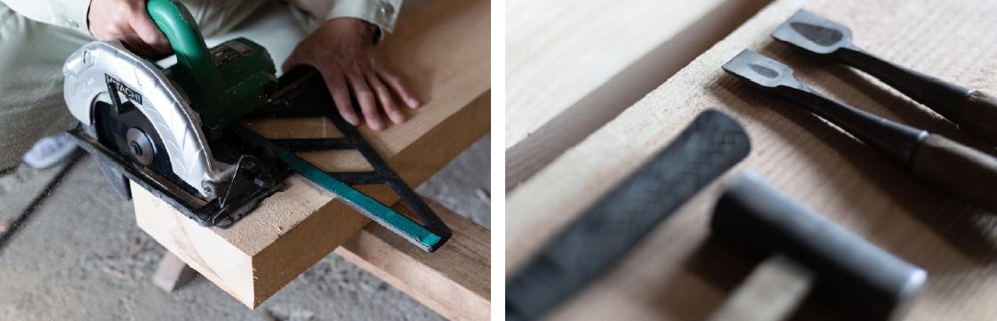 大工が木材を加工するようす