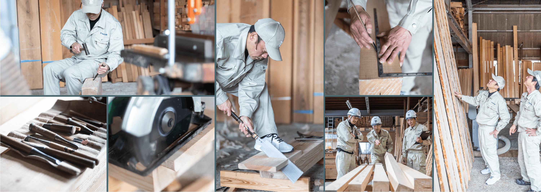 加工場で木材を加工する大工の組写真